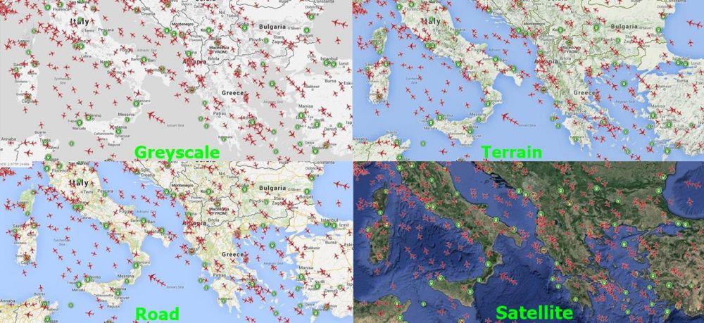PlaneFinder Map Types