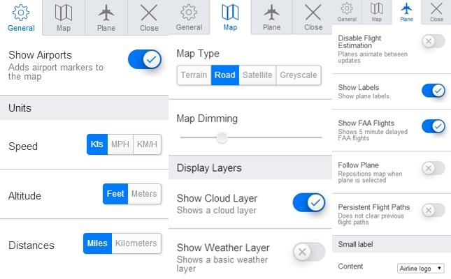 Map filters on the real time aircraft tracking system - PlaneFinder