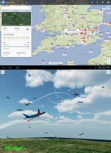Mobile app of PlaneFinder, including 3D view