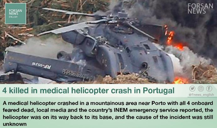 helicopter-ambulance crashes in northern Portugal
