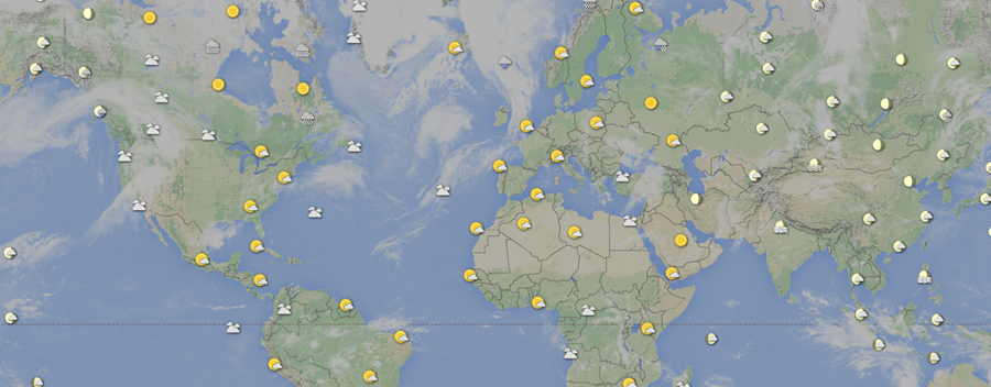 Weather data plotted on a digital map for real time flight tracking