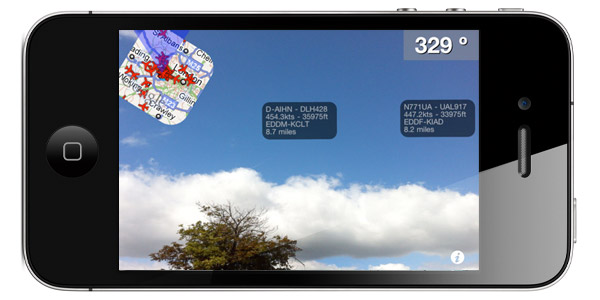 Augmented reality of FlightRadar 24 PRO for iPhone and iPad devices