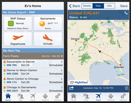 Track a particular flight using FlightView Elite for iOS