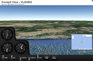FlightRadar24 cockpit view of the pilots cabin