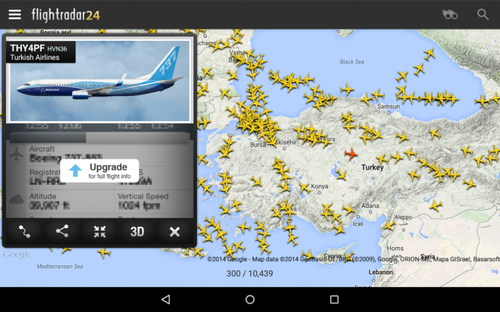 FlightRadar 24 Free flight tracking application for Android mobile devices