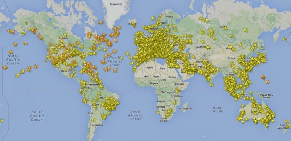 Coverage of the real time aircraft tracking system FlightRadar24