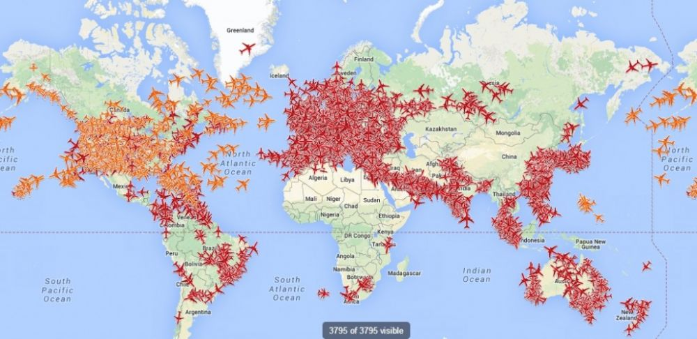 Coverage of the flight tracking system PlaneFinder